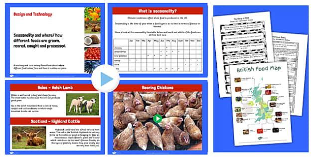 Where Food Comes From and Seasonality Lesson Teaching Pack - pack