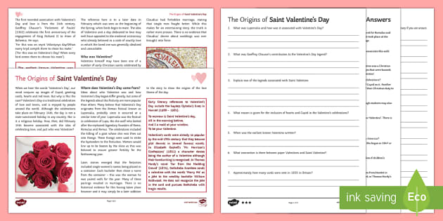 The Origins of Valentine's Day Differentiated Reading Comprehension Activity
