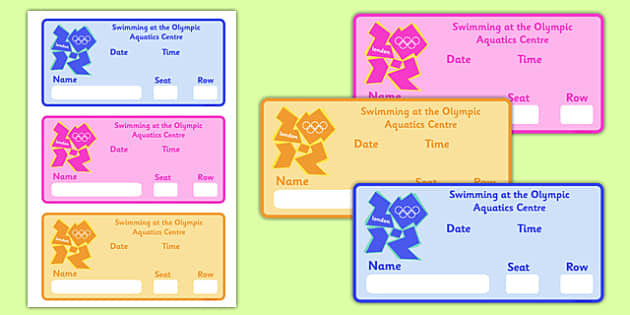 The Olympics Swimming Event Tickets - Swimming, Olympics, Olympic Games, sports, Olympic, London, 2012, event, ticket, tickets, entry, stadium, activity, Olympic torch, events, flag, countries, medal, Olympic Rings, mascots, flame, compete