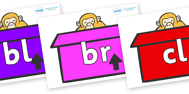 Initial Letter Blends on Monkeys (Box) to Support Teaching on Dear Zoo - Initial Letters, initial letter, letter blend, letter blends, consonant, consonants, digraph, trigraph, literacy, alphabet, letters, foundation stage literacy