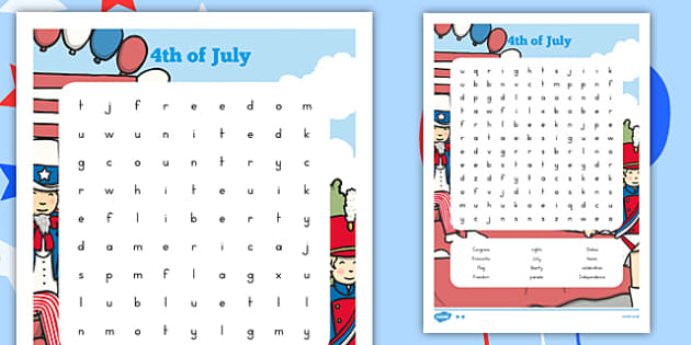 Fourth of July Word Search - usa, america, 4th july, fourth of july, independence day, word search