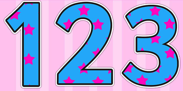 Blue and Pink Stars Display Numbers - blue, pink, stars, display numbers