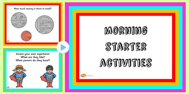EYFS Morning Starter Activities PowerPoint - starter, activities