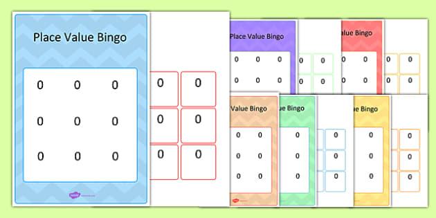 Editable Hundreds, Tens and Units Place Value Bingo Game - bingo, game