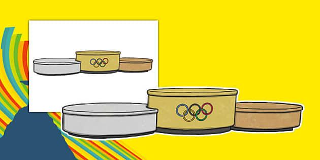 Olympic Display Trilevel Podium - usa, america, olympics, 2016 olympics, rio 2016, rio olympics, display, trilevel, podium