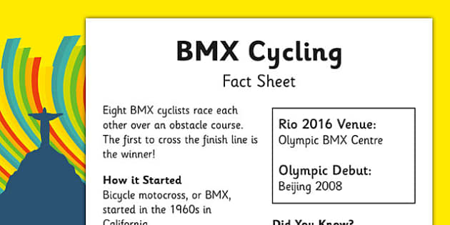 Rio 2016 Olympics BMX Cycling Fact Sheet - rio 2016, rio olympics, 2016 olympics, bmx cycling, fact sheet