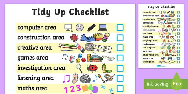 Class Tidy Up Checklist - class management, tidying, behaviour