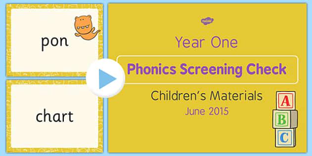 Year 1 Phonics Screening Check 2015 Children's Materials PowerPoint - year 1, phonics screening check, 2016, children's materials, powerpoint