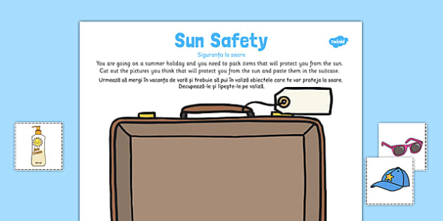 Sun Safety Cut and Paste Activity Romanian Translation - romanian, sun safety, paste, activity