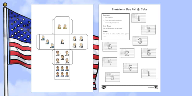 Presidents' Day Roll and Color Activity Sheet - American Presidents, American History, Social Studies, American Flag, George Washington, Abraham Lin