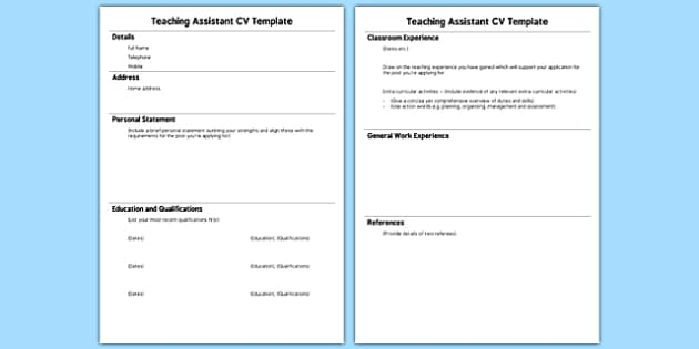 Teaching Assistant CV Template - teaching, assistant, cv template