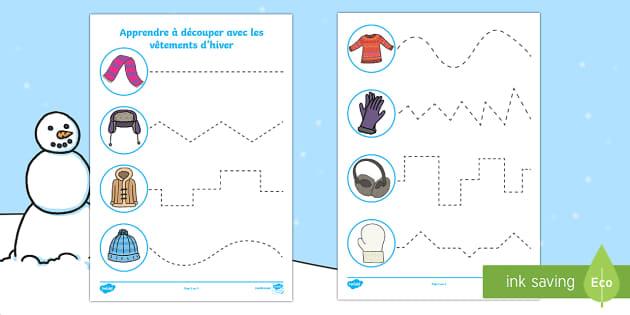 Feuille d'activités : Apprendre à découper - Les vêtements d'hiver-French - Hiver, winter, vêtements, colthes, clothing, découper, cut, ciseaux, scissors,French