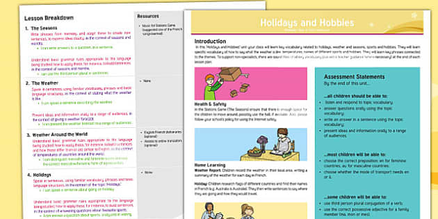 PlanIt   French Year 4   Holidays and Hobbies Overview - french, languages, grammar, weather, seasons, holidays, sports, hobbies