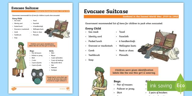 Scotland in the Second World War Evacuee Suitcase Fact File - Scotland in World War II, evacuation,WW2,Scottish