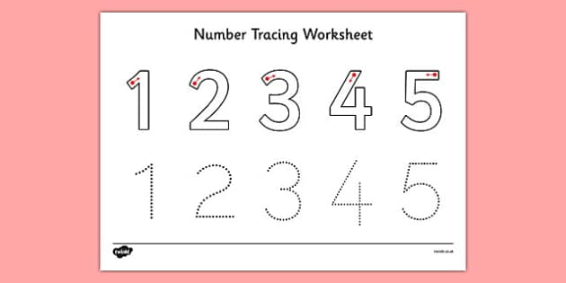 Number Tracing Worksheet 1-5 - number, tracing, worksheet, maths, formation