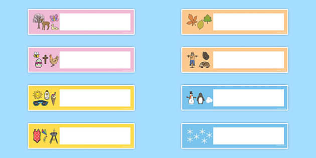 Seasons Themed Editable Gratnells Tray Labels - seasons, labels
