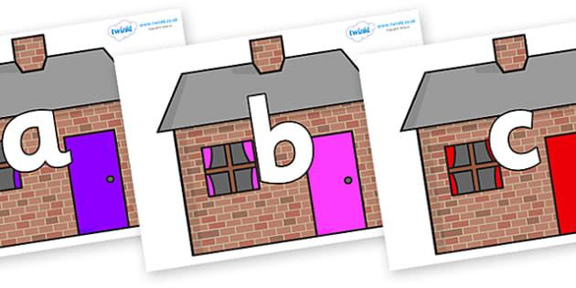 Phoneme Set on Brick houses - Phoneme set, phonemes, phoneme, Letters and Sounds, DfES, display, Phase 1, Phase 2, Phase 3, Phase 5, Foundation, Literacy