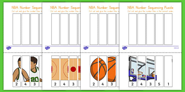 Basketball Themed Number Sequencing Puzzle - usa, basketball, nba, national basketball association, sequencing, puzzle