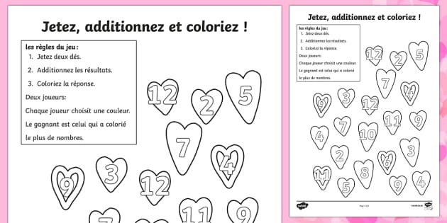 Valentine's Day Colour and Roll Worksheet French - french, valentines day, colour
