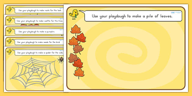 Autumn Playdough Mats - fine motor skills, seasons, weather
