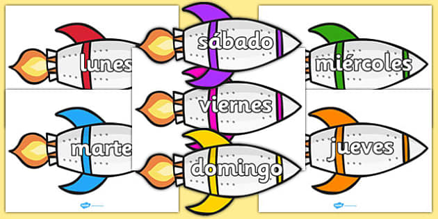 Days of the Week on Rockets Spanish - spanish, days, week, rockets, display