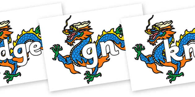 Silent Letters on Chinese Dragon - Silent Letters, silent letter, letter blend, consonant, consonants, digraph, trigraph, A-Z letters, literacy, alphabet, letters, alternative sounds