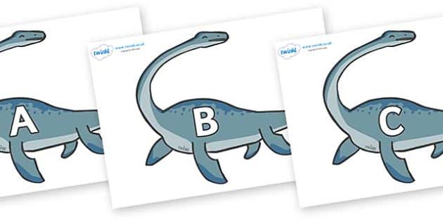 A-Z Alphabet on Plesiosaur - A-Z, A4, display, Alphabet frieze, Display letters, Letter posters, A-Z letters, Alphabet flashcards