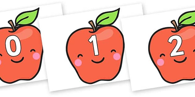 Numbers 0-31 on Cute Smiley Apple - 0-31, foundation stage numeracy, Number recognition, Number flashcards, counting, number frieze, Display numbers, number posters