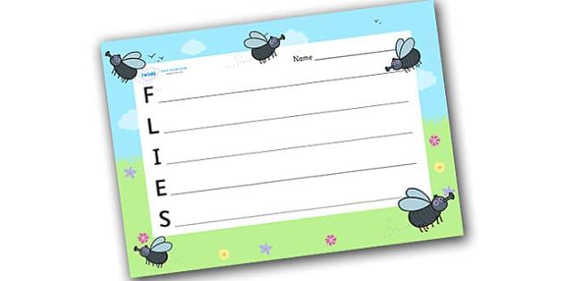 Flies Acrostic Poem - acrostic poems, acrostic poem, acrostic, flies acrostic poem template, flies, fly, flies acrostic poem writing frame, poetry writing frame, minibeasts, minibeast acrostic poem, poem, poetry, literacy, writing activity, activity