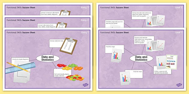 Functional Skills Data and Statistics Success Sheets - KS4, KS5, adult education, maths, numeracy, functional skills, SEN, assessment, objectives