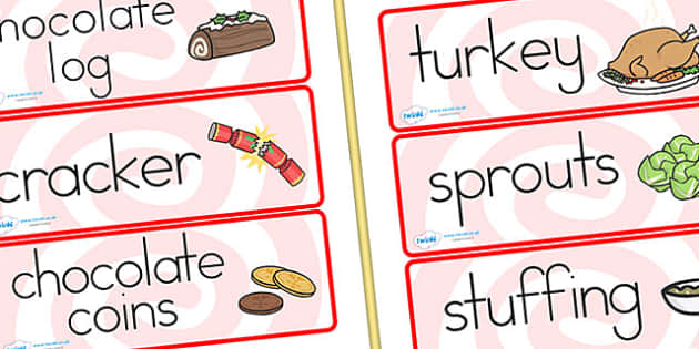 Australia Christmas Dinner Word Cards - christmas, word cards, keywords