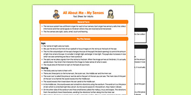 All About Me My Senses Fact Sheet for Adults - Early Years, KS1, sight,taste, hearning, touch, smell, UTW