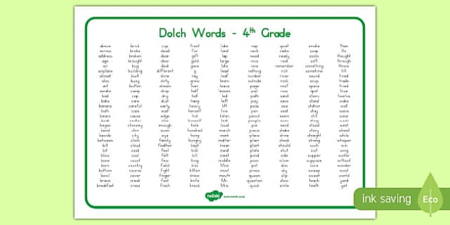 Dolch Words Fourth Grade Word Mat