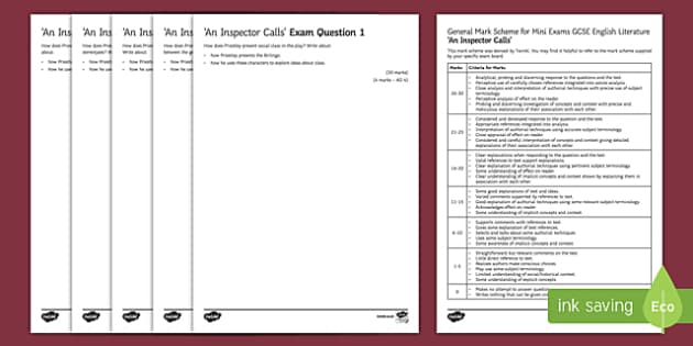 An Inspector Calls Mini Exam Pack