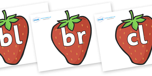 Initial Letter Blends on Strawberries - Initial Letters, initial letter, letter blend, letter blends, consonant, consonants, digraph, trigraph, literacy, alphabet, letters, foundation stage literacy