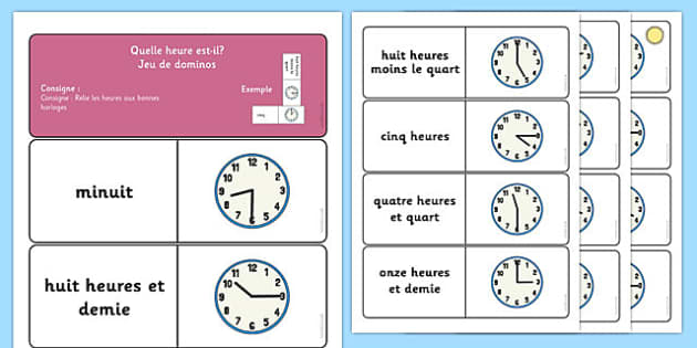 Telling the Time Dominoes French - time, clocks, hours, hands, clock, French, France, Francais, minutes, anaolgue, mfl