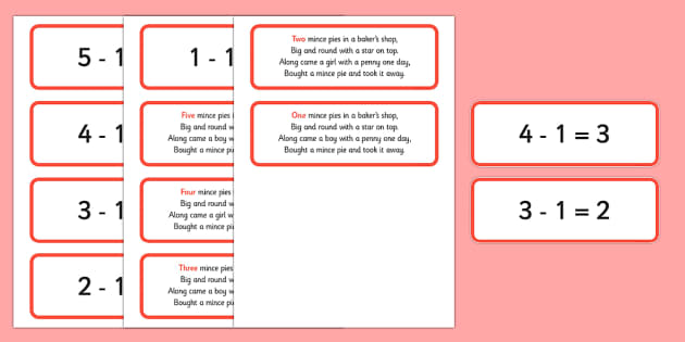 Five Mince Pies Nursery Rhyme Number Sentences and Verse Cards - five mince pies, nursery rhyme, rhyme, rhyming, christmas, food, santa, number sentences, number, sentence, verse cards, verses, cards