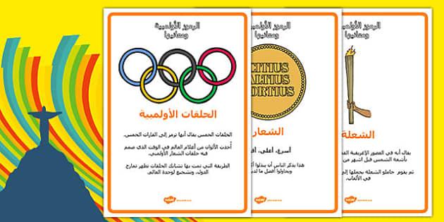 ملصقات عرض الرموز الأولمبية ومعانيها