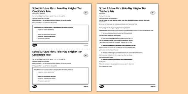 Colegio & Planes de futuro 1 Juego de rol Higher Tier - School, college, future plans, role-play, juego de rol, higher tier