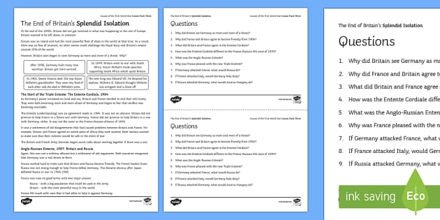 The End of Britain's Splendid Isolation Activity Sheet - The causes of the First World War, Britain and Splendid Isolation, KS4, History, AQA, worksheet