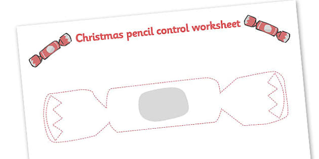 Christmas Themed Cracker Pencil Control Worksheets - christmas