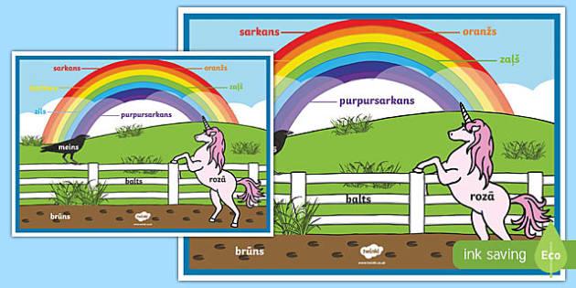 Rainbow colours poster - Latvian