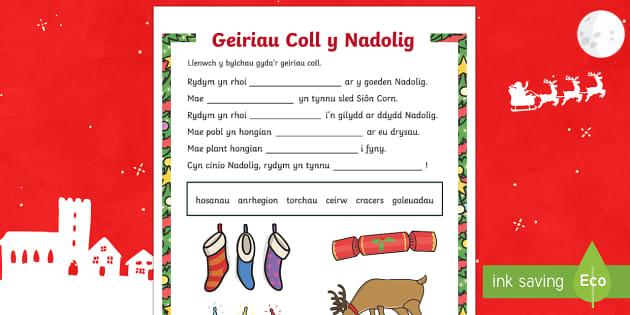 Geiriau Coll Nadolig Taflen Weithgaredd-Welsh