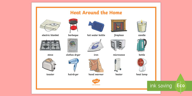 Heat Around The Home Word Mat - heat, heat around the home, heat transfer, heating, heating items, heat sources,Australia