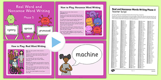 Real and Nonsense Words Writing Phase 5 PowerPoint and Script