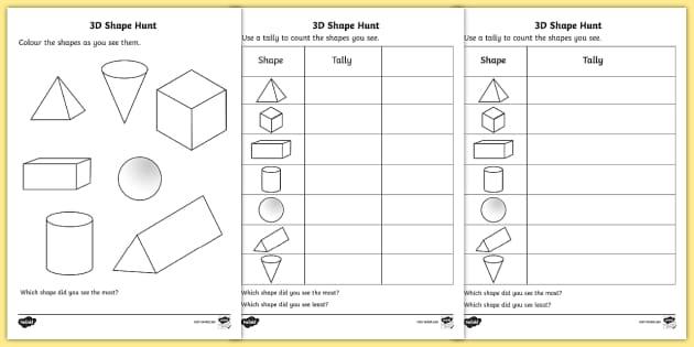 3D Shape Hunt Activity Sheet - 3d, shape, hunt, worksheet, sheet