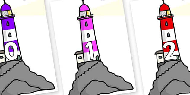 Numbers 0-100 on Lighthouses - 0-100, foundation stage numeracy, Number recognition, Number flashcards, counting, number frieze, Display numbers, number posters