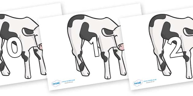 Numbers 0-50 on Cows - 0-50, foundation stage numeracy, Number recognition, Number flashcards, counting, number frieze, Display numbers, number posters