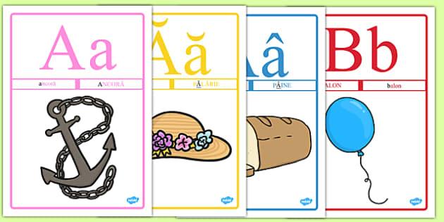 Alfabetar, Planse - alfabet, alfabetul, litere, literele, romana