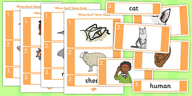 Whose Ears Game - whose, ears, game, activity, class, animals